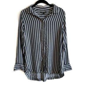 Banana Republic wide stripe Parker tunic fit shirt